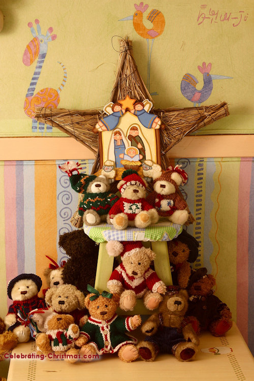 Toddler Friendly Christmas Tree Decorating Idea with Stuffed Toys