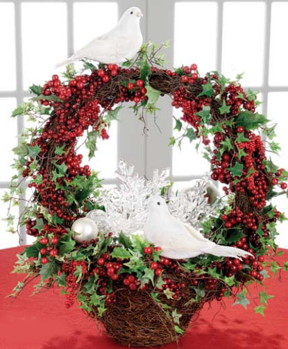 Add white doves to berry wreaths for Red and White Christmas Decorations