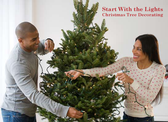 Christmas Tree Decorating - Start With the Lights