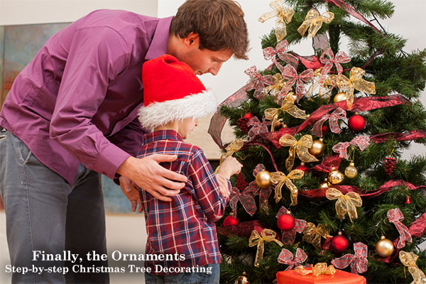 Step by step Christmas Tree Decorating - Finally, the Ornaments