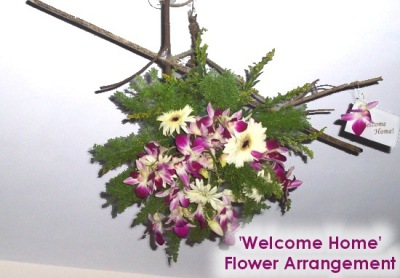 Welcome Home - Hanging/Inverted Christmas Flower Arrangement with Orchids and Gerbera Daisies
