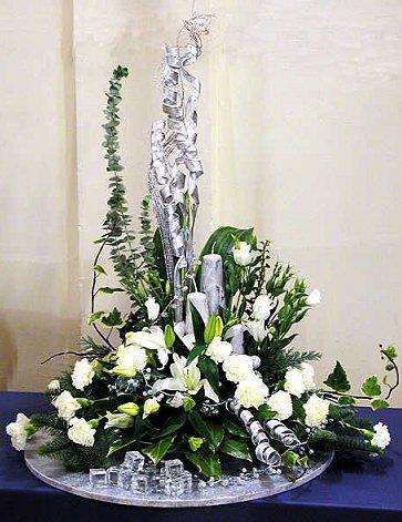 Silver White Festive Flower Arrangement Celebrating