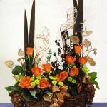 Orange-Copper-Bronze Christmas Flower Arrangement