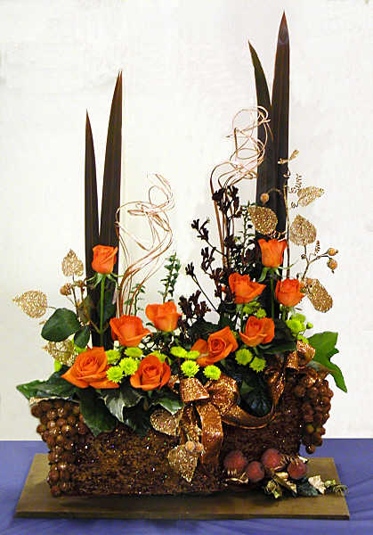 Orange-Copper-Bronze Christmas Flower Arrangement