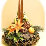 Orange-Copper Christmas Flower Arrangement
