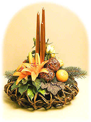 Orange-Copper Christmas Flower Arrangement