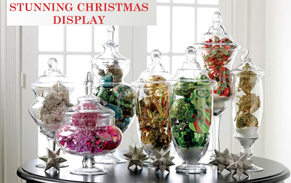 Stunning Apothecary Jar Christmas Display Decoration Celebrating Christmas