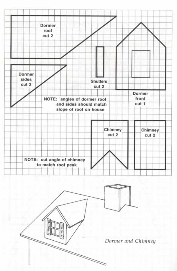 Dormers and Chimney Templates for Gingerbread House