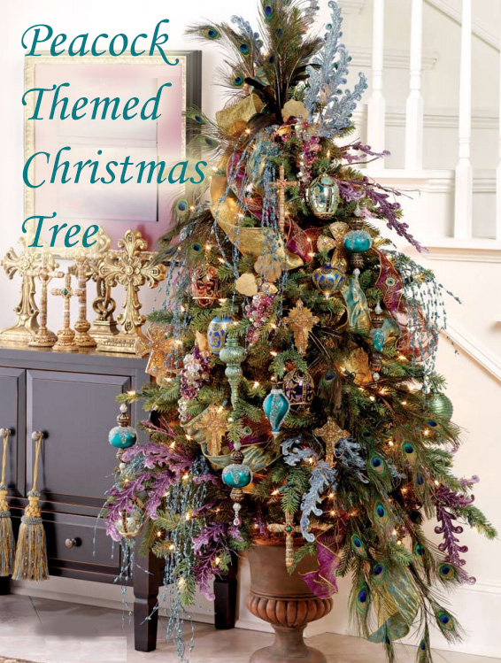 peacock themed christmas tree decoration ideas - Peacock Themed Christmas Tree