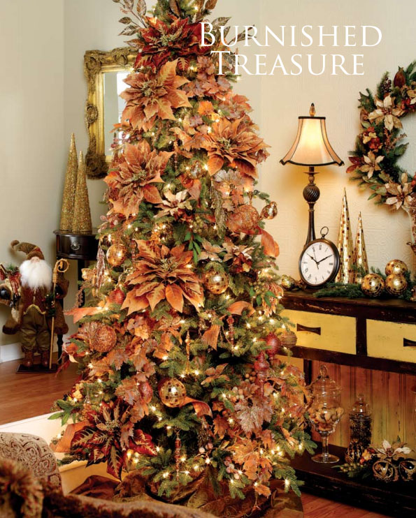burnt autumn palette christmas tree decorating theme - Poinsettia Christmas Tree Decorations