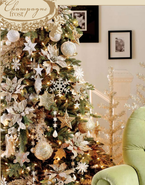 Champagne Frost Christmas Tree Decorating Theme in Champagne and Silver