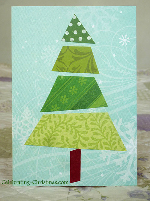 Easy, handmade Christmas tree card idea