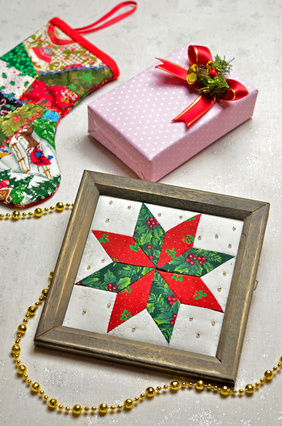 Framed Patchwork Quilt Squares as Christmas Decor or Gifts