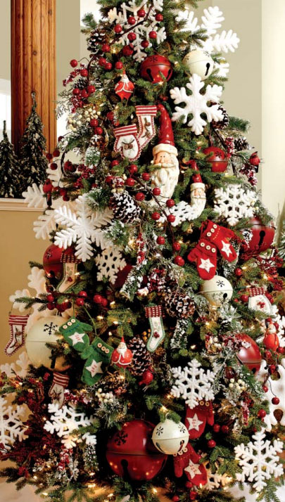 merry winter christmas tree decorating theme with santa snowmen snowflakes and winter symbols