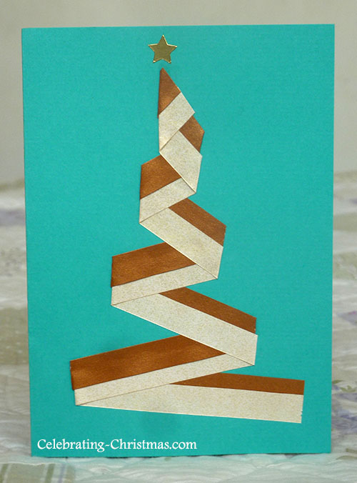 Modern Christmas Tree Card made using Quilling Strips