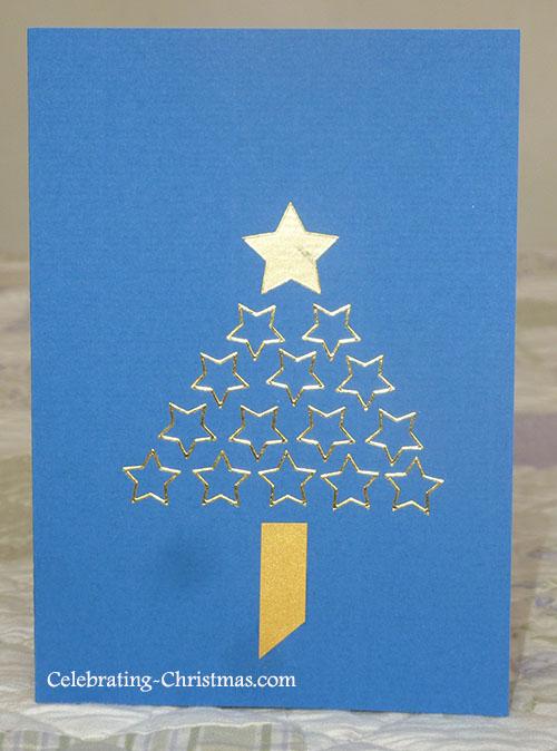 Starry Christmas Tree - Easy Handmade Christmas Card Idea